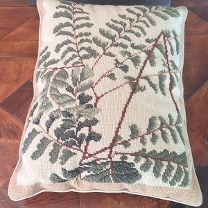 Botanical Needlepoint Pillow Completed Large